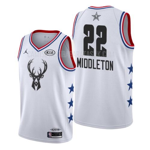 camiseta milwaukee bucks de la khris middleton 22 hombres blanco nba all-star 2019