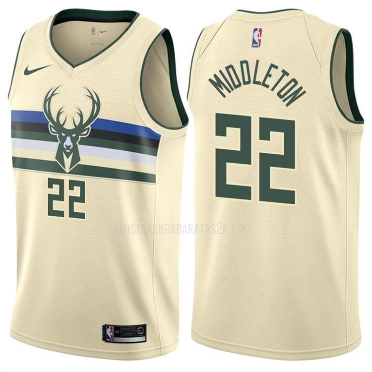 camiseta milwaukee bucks de la khris middleton 22 hombres color crema edición city