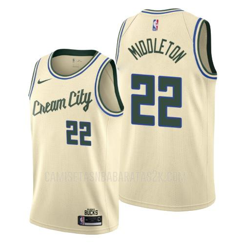 camiseta milwaukee bucks de la khris middleton 22 hombres color crema edición city 2019-20