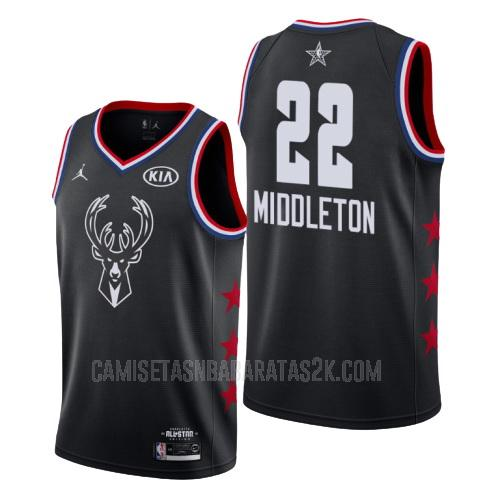 camiseta milwaukee bucks de la khris middleton 22 hombres negro nba all-star 2019