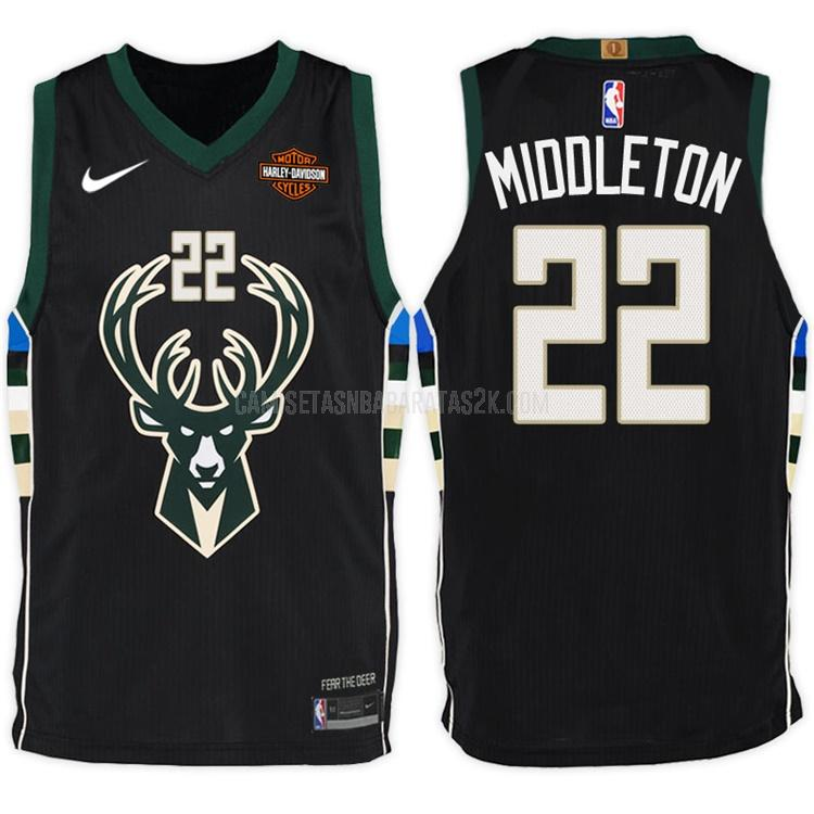 camiseta milwaukee bucks de la khris middleton 22 hombres negro statement 2017-18