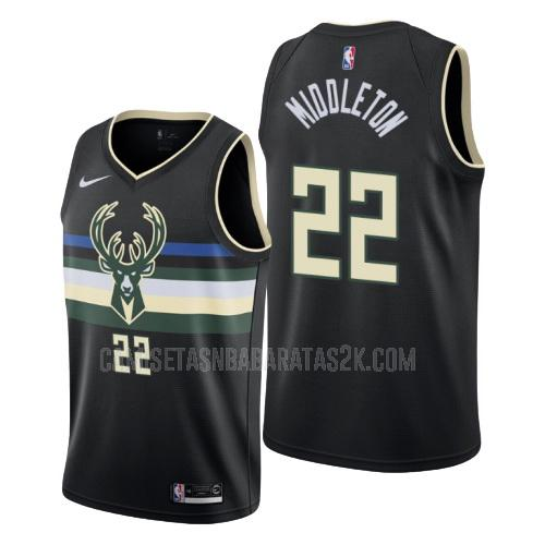 camiseta milwaukee bucks de la khris middleton 22 hombres negro statement 2019-20