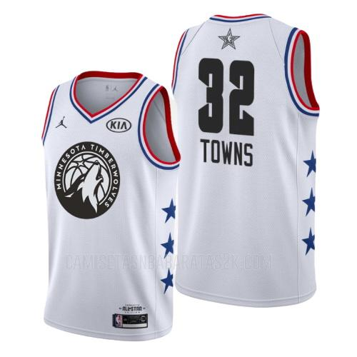 camiseta minnesota timberwolves de la karl anthony towns 32 hombres blanco nba all-star 2019