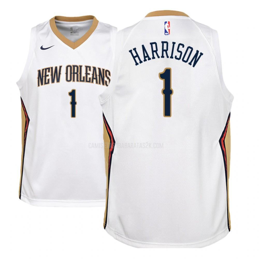 camiseta new orleans pelicans de la andrew harrison 1 niños blanco association