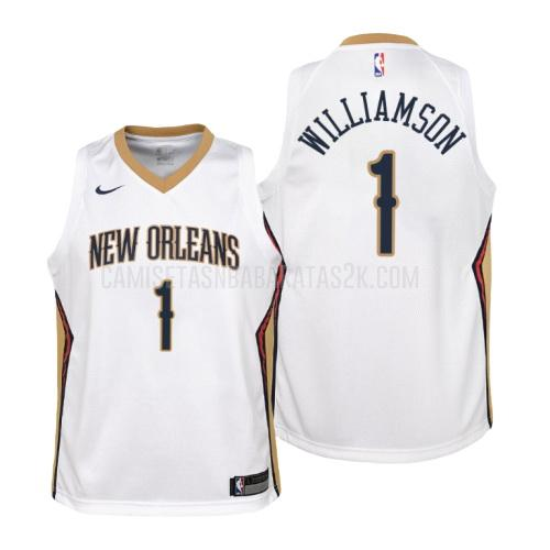 camiseta new orleans pelicans de la zion williamson 1 niños blanco association
