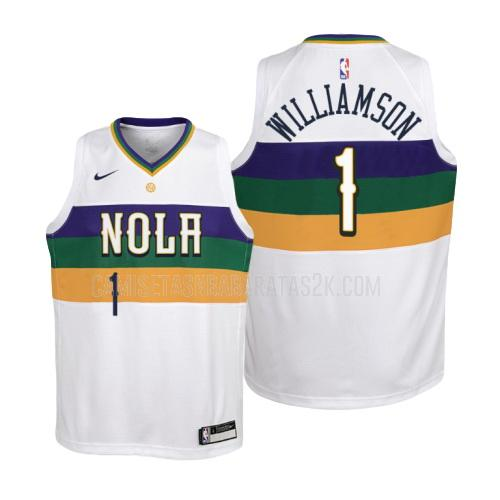 camiseta new orleans pelicans de la zion williamson 1 niños blanco edición city