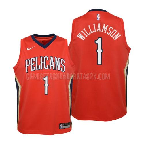camiseta new orleans pelicans de la zion williamson 1 niños rojo statement