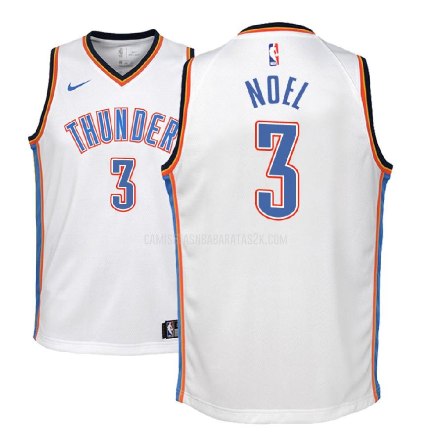 camiseta oklahoma city thunder de la nerlens noel 3 niños blanco association 2018-19