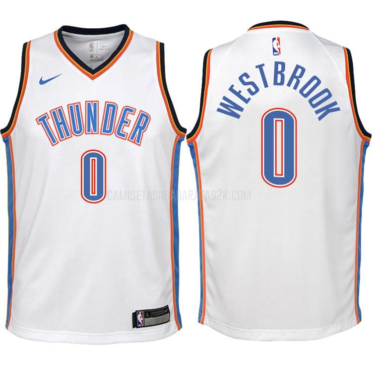 camiseta oklahoma city thunder de la russell westbrook 0 niños blanco association 2017-18