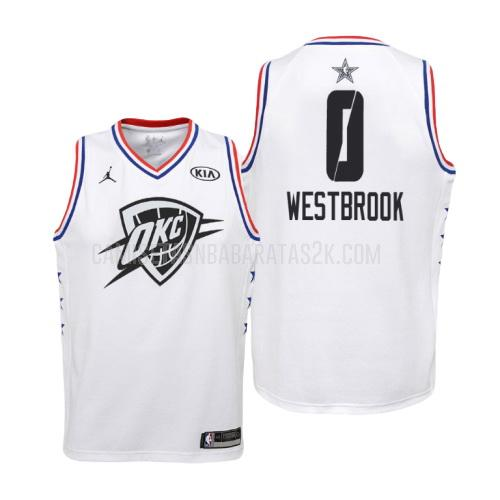 camiseta oklahoma city thunder de la russell westbrook 0 niños blanco nba all-star 2019