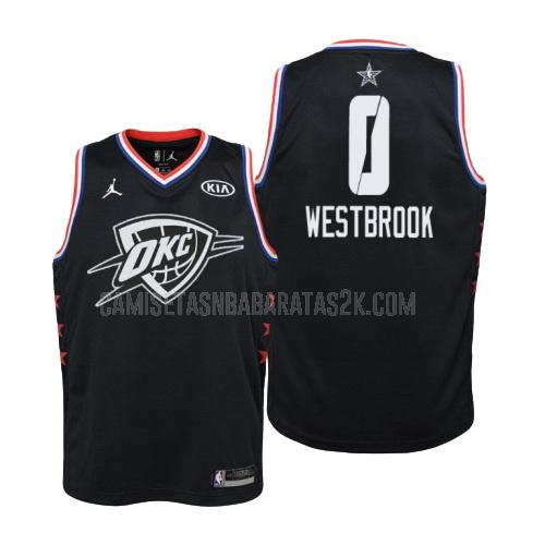 camiseta oklahoma city thunder de la russell westbrook 0 niños negro nba all-star 2019