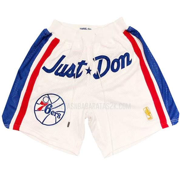 pantalones cortos nba philadelphia 76ers de la blanco just don bolsillo